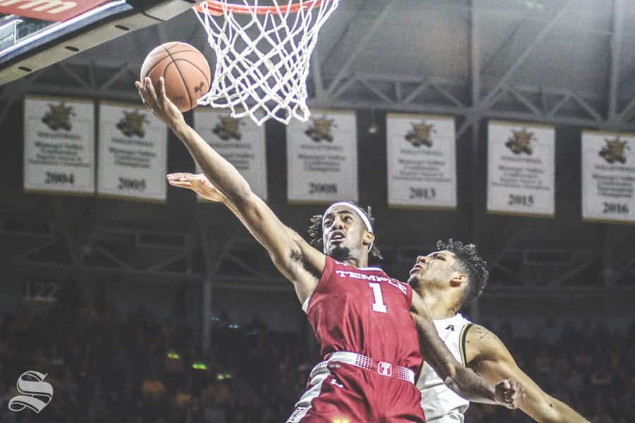 Temples Quinton Rose goes up for a layup during the second half of the game against Wichita State on Feb. 27 inside Charles Koch Arena.