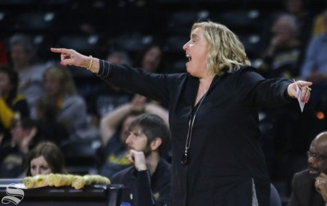 Wichita State head coach Keitha Adams calls a play during the game against Southern Methodist at Charles Koch Arena on Wednesday, Feb. 19, 2020.