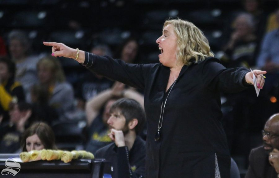 Wichita+State+head+coach+Keitha+Adams+calls+a+play+during+the+game+against+Southern+Methodist+at+Charles+Koch+Arena+on+Wednesday%2C+Feb.+19%2C+2020.
