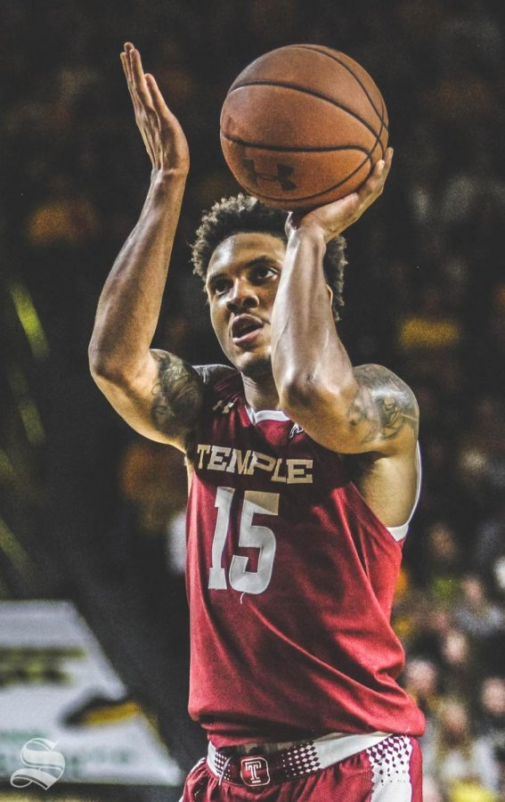 Temples Nate Pierre-Louis shoots a free throw during the second half of the game against Wichita State on Feb. 27 inside Charles Koch Arena.
