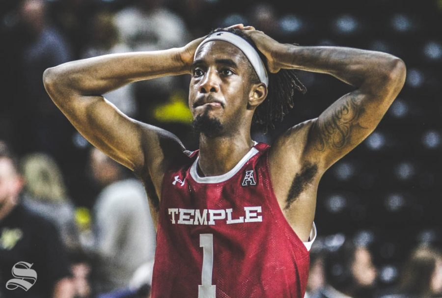 Temples Quinton Rose reacts after losing against Wichita State on Feb. 27 inside Charles Koch Arena.