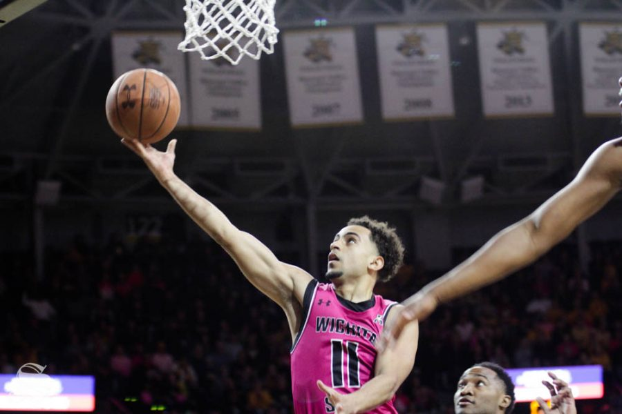 Wichita State freshman Noah Fernandes goes up for a layup during the first half of the game against USF on Feb. 20 inside Charles Koch Arena.