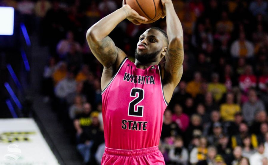 Wichita State sophomore Jamarius Burton shoots a shot during the first half of the game against USF on Feb. 20 inside Charles Koch Arena.