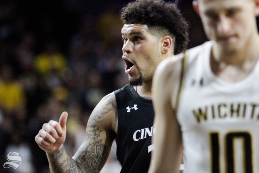 Cincinnatis Jarron Cumberland reacts after hitting the game-tying layup during the game against Wichita State on Feb. 6 inside Charles Koch Arena. Cumberland was fouled on the shot and made the game-winning free throw.