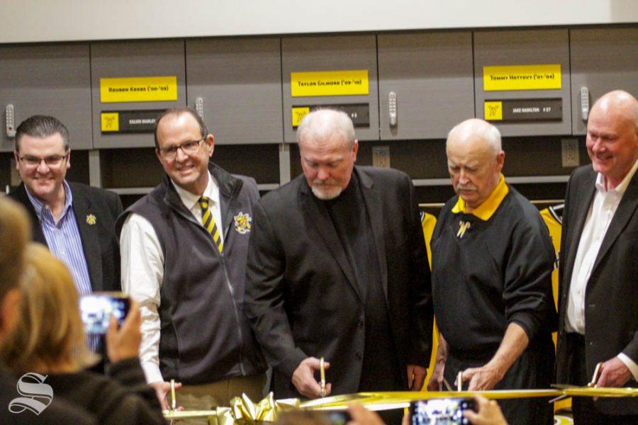 Wichita+State+Head+Coach+Eric+Wedge+cuts+the+grand+opening+ribbon+on+Friday+inside+the+brand+new+baseball+locker+room.