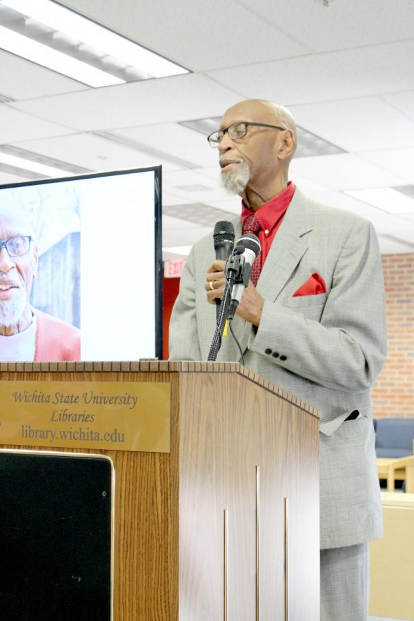 Dr. Galyn Vesey presented over the Dockum Sit-in on Wednesday, Feb. 26 at the Ablah Library.