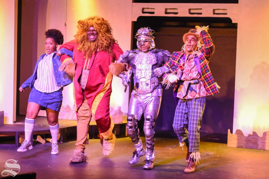 Dorthy%2C+Lion%2C+Tinman%2C+and+Scarecrow+perform+%22Ease+on+Down+the+Road%22+during+a+dress+rehersal+of+%22The+Wiz%22+on+Tuesday%2C+Feb.+4.