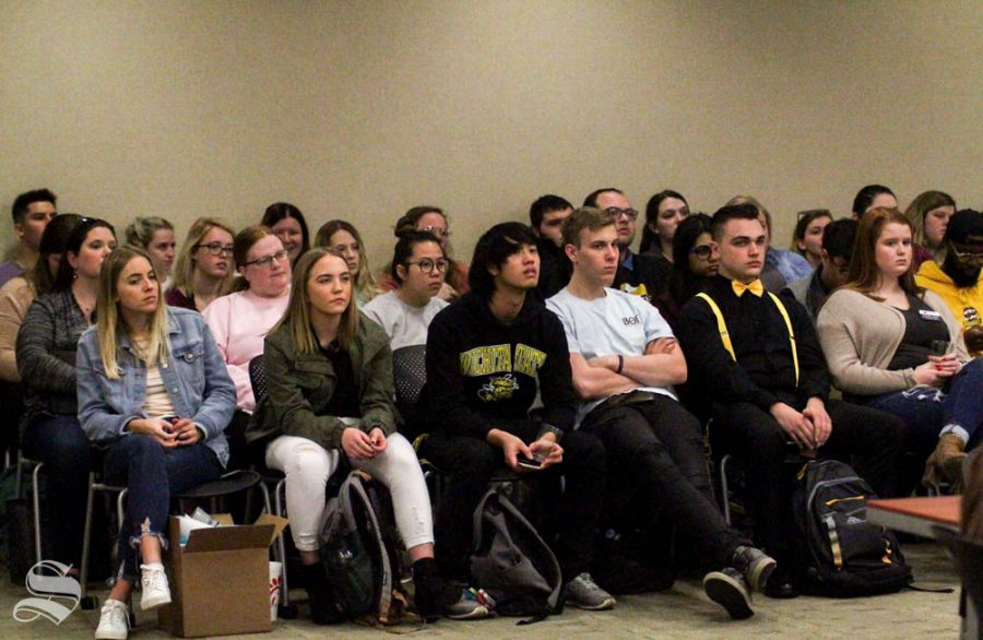Students fill the gallery of student fee deliberations on Friday, Feb. 28. On the first day of deliberations, a proposed $174,000 cut Student Involvements request was made.