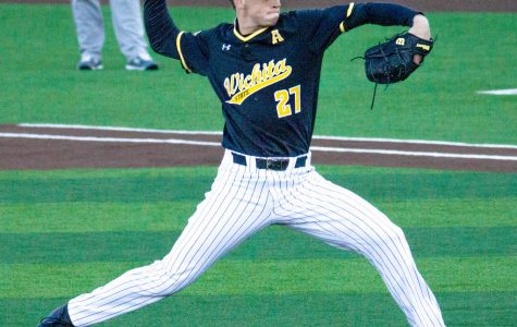Wichita State junior Jake Hamilton pitches the ball against Texas Southern on Friday at Eck Stadium.