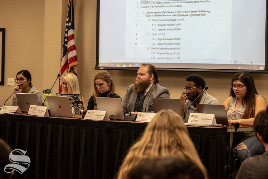 Vice+President+Michael+Bearth+oversees+debate+on+a+proposed+1.5%25+student+fees+increase.+The+bill+ultimately+failed+and+will+be+sent+back+to+the+student+fees+committee.