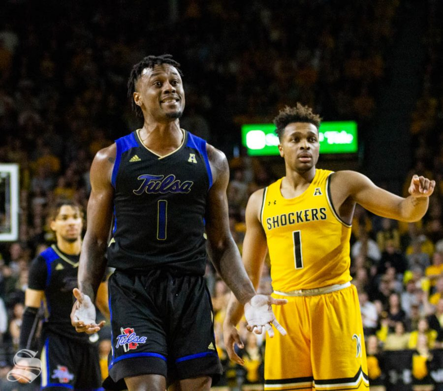 Tulsas Martins Igbanu reacts after turning the ball over during the first half of the game against Wichita State on March 8 inside Charles Koch Arena.