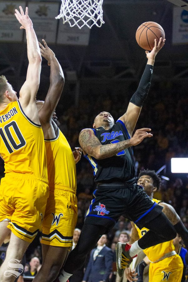Tulsas Elijah Joiner goes up for a layup during the first half of the game against Wichita State on March 8 inside Charles Koch Arena.