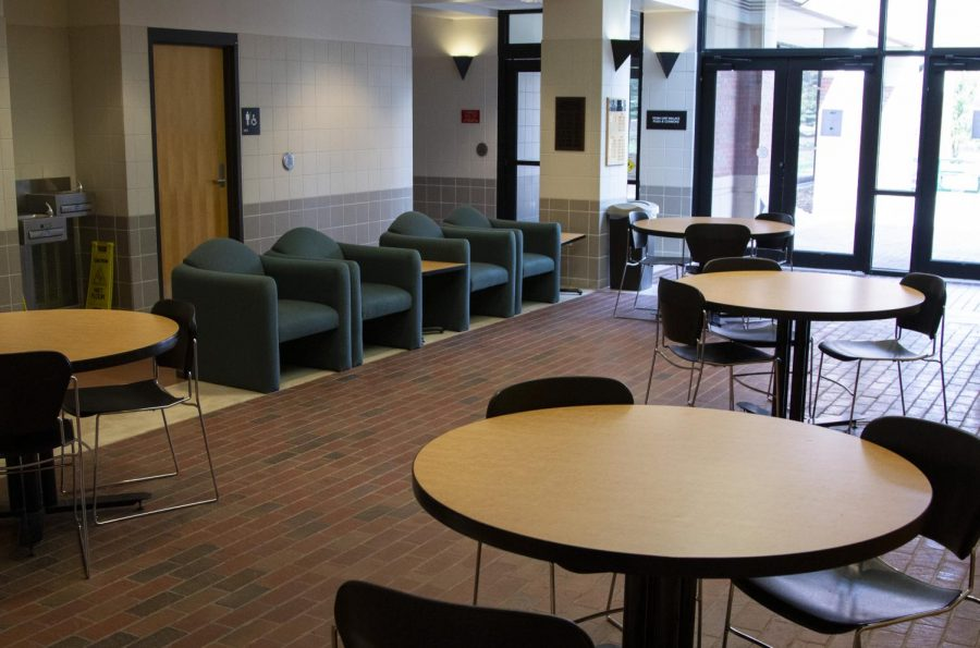 Chairs are empty inside Elliott Hall on Monday, March 23, 2020.