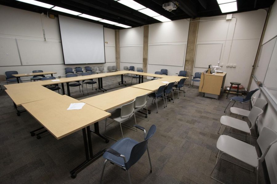 A classroom in the McKnight Art Center on Monday, March 23, 2020.
