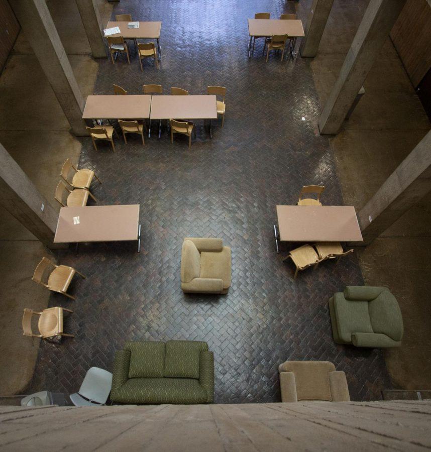 The atrium in McKnight Art Center on Monday, March 23, 2020.