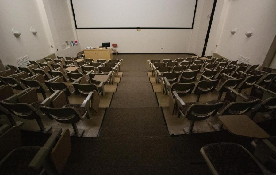 An empty lecture hall within the McKnight Art Center on Monday, March 23, 2020.