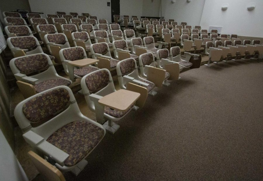 Empty lecture hall within the McKnight Art Center on Monday, March 23, 2020.