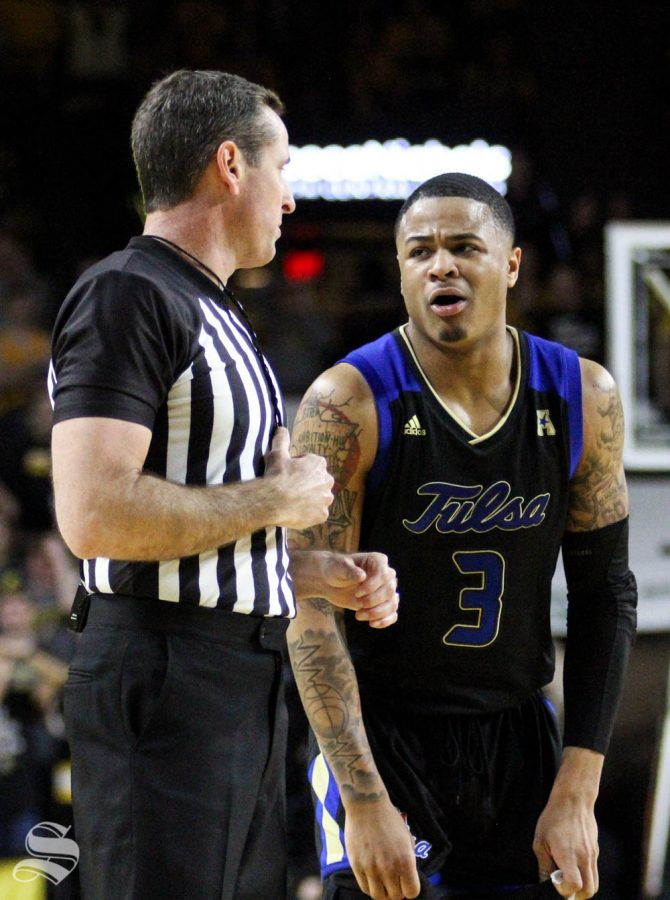 Tulsas Elijah Joiner argues a foul call during the second half of the game against WSU on March 8 inside Charles Koch Arena.