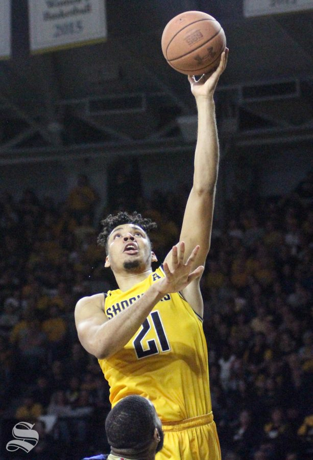 Wichita State senior Jaime Echenique goes up for a hook shot during the second half of the game against Tulsa on March 8 inside Charles Koch Arena.