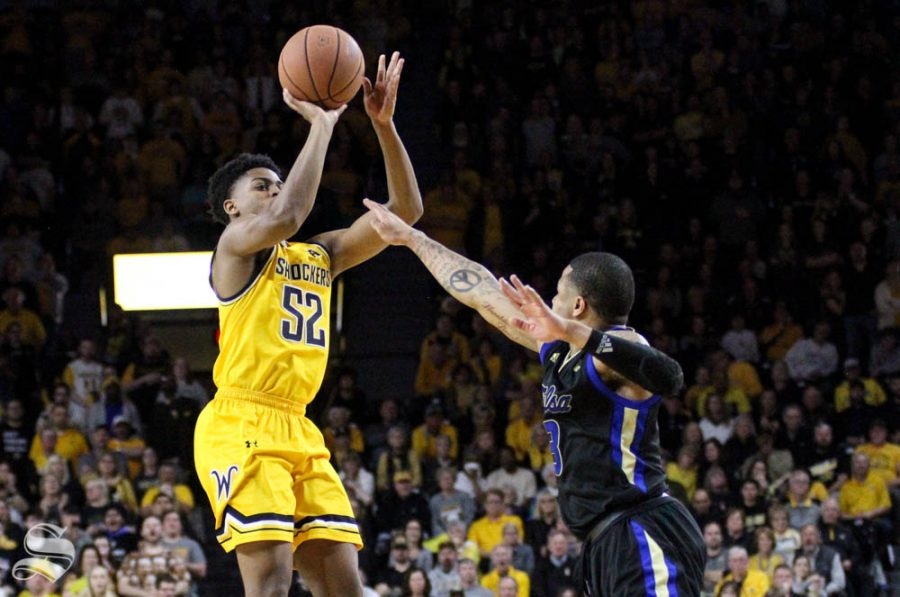 Wichita State freshman Grant Sherfield shoots a contested jumper during the second half of the game against Tulsa on March 8 inside Charles Koch Arena.