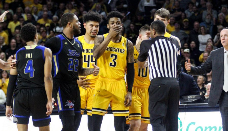 Wichita State freshman DeAntoni Gordon reacts after the double technicals were issued late in the second half of the game against Tulsa on March 8 inside Charles Koch Arena.