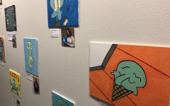 Paintings of the character Squidward from the children television show