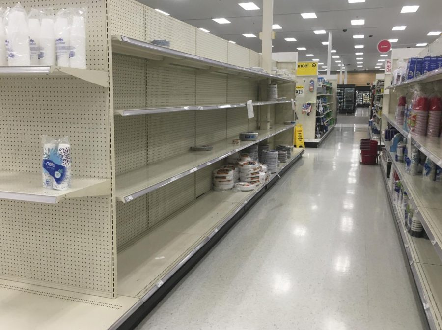Shelves inside the Target located at 21st and Greenwich on Sunday, March 22, 2020.