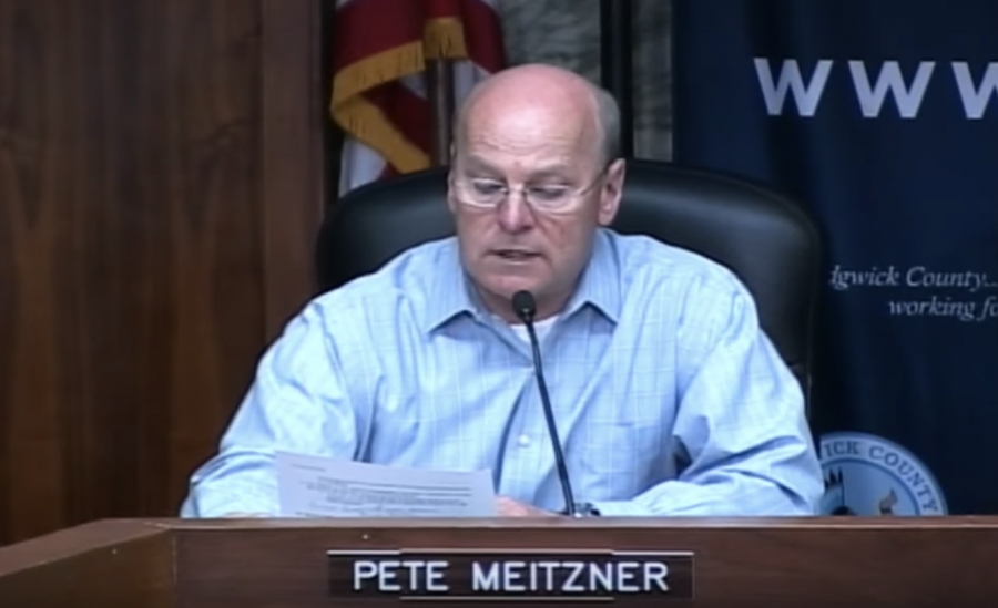 Chairman Pete Meitzner announces during a March 24 briefing that the county health director has signed a stay-at-home order.