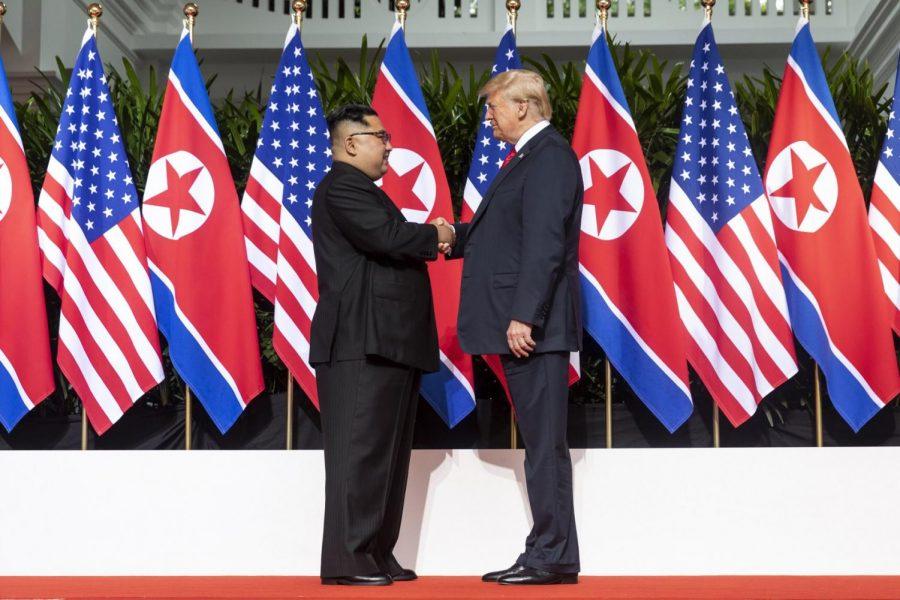 President Trump greets North Korean head-of-state Kim Jong-un.