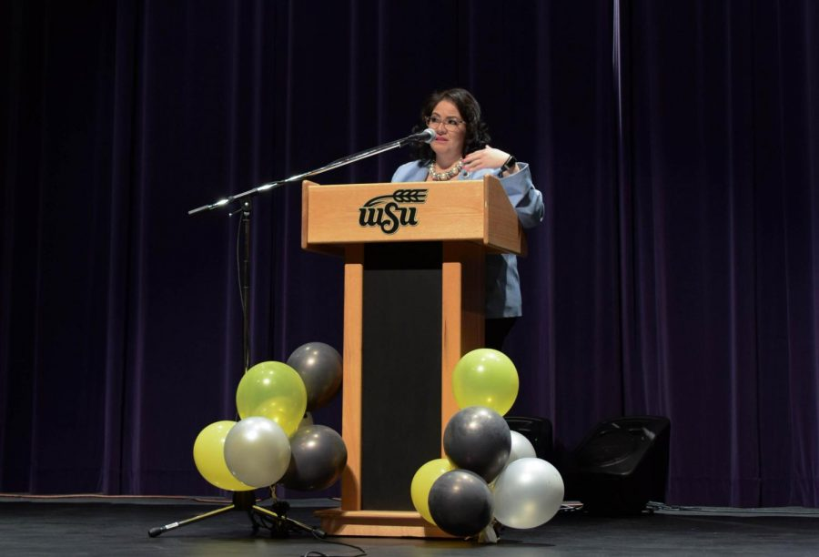Kansas Secretary of Labor Delia Garcia shares her story and answers questions Thursday at the CAC Theater for Women in the Workplace.