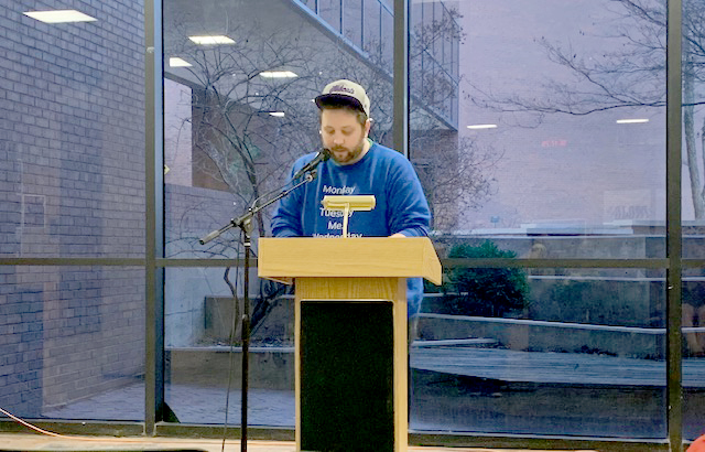 Jason Teal, editor of Heavy Feather Review, read his fiction contest-winning piece,