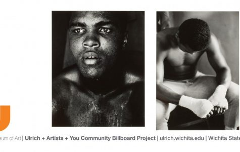 A mock-up of a potential billboard featuring the works of Kansas-born artist Gordon Parks. The two photographs featured are of boxer Muhammad Ali.