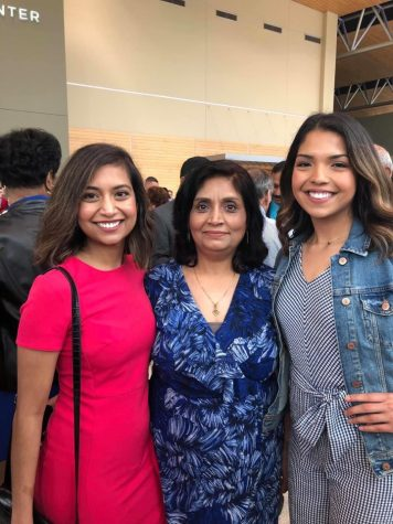 Sophomore Arauna Anwar and her sister and mother pose for a photo after attending Easter service at Central Community Church last year.