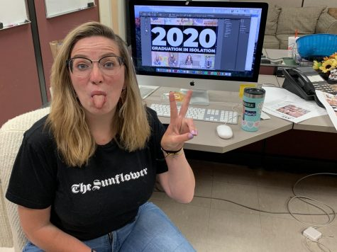 Editor in Chief Kylie Cameron works on the last print issue of the 2019-20 school year.