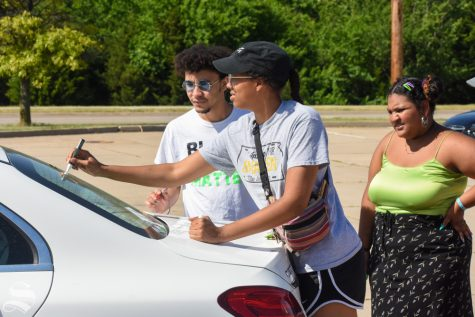 Before the Black Lives Matter rally on campus on Friday, students met at the Hughes Metroplex for a cruise along a designated route back to the Rhatigan Student Center.