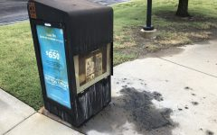 Police responded Friday afternoon to an arson inside The Sunflower's newsstand at the Duerksen Fine Arts Center bus stop. Anyone with information about the crime or the suspect can contact WSUPD at (316) 978-3450 or police@wichita.edu.