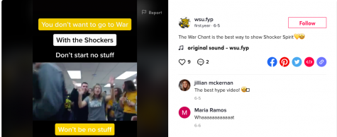 This screenshot shows a TikTok video from the Wichita State Office of First-Year Programs. With most of orientation online, transition mentors are using social media and other tools to connect with new students.