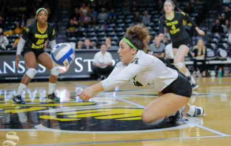 Wichita State libero Giorgia Civita dives for a ball during the Shockers' game against SMU on Nov. 11, 2018 at Koch Arena. Civita announced Monday she is transferring to the University of Wisconsin.