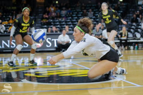 Wichita State libero Giorgia Civita dives for a ball during the Shockers