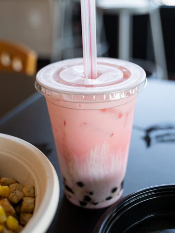Strawberry boba tea is Columnist Kamilah Gumbs' recommended drink at Journey East Asia Grill. The Asian restaurant is located in Braeburn Square on Wichita State's main campus.