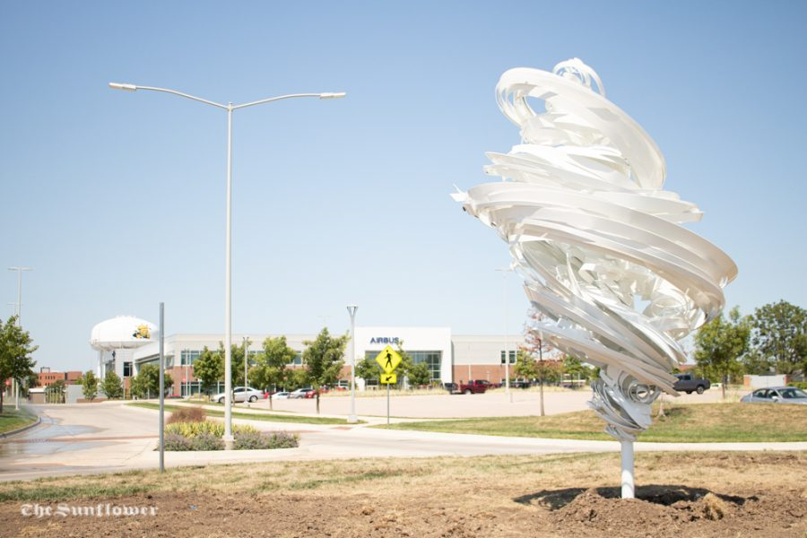 Wichita State had its 81st piece in their outdoor sculpture collection installed on Tuesday, August 4  on the Wichita State Innovation Campus. The artist, Alice Aycock named it Twister Grande and it is located by the Airbus parking lot.
