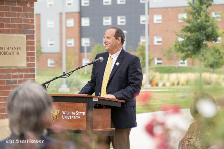 President Jay Golden speaks  at the press conference hosted by WSU Foundation. The press conference was held at Marcus Welcome Center on Aug 31, 2020.