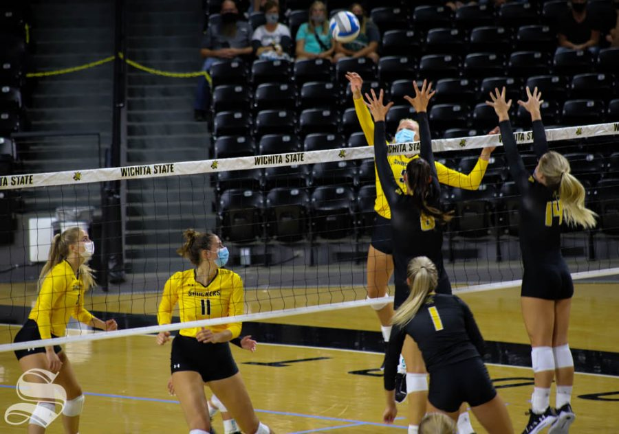 Wichita State freshman Sophie Childs spikes the ball during the Black and Yellow Scrimmage on Sept. 12 at Koch Arena.