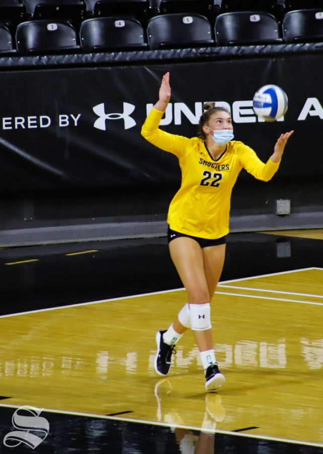 Wichita State freshman Morgan Webber serves the ball during The Black and Yellow Scrimmage.