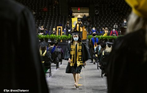 Fine Arts grad Lilian Tay walks off stage after getting recognized at the Spring 2020 Commencement.