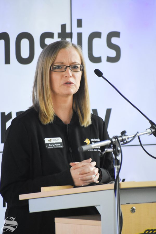 Sarah Nickel, Assistant Professor in the Medical Laboratory Sciences at Wichita State University, speaks about the new Molecular Diagnostics Lab on Monday inside the John Bardo Center.