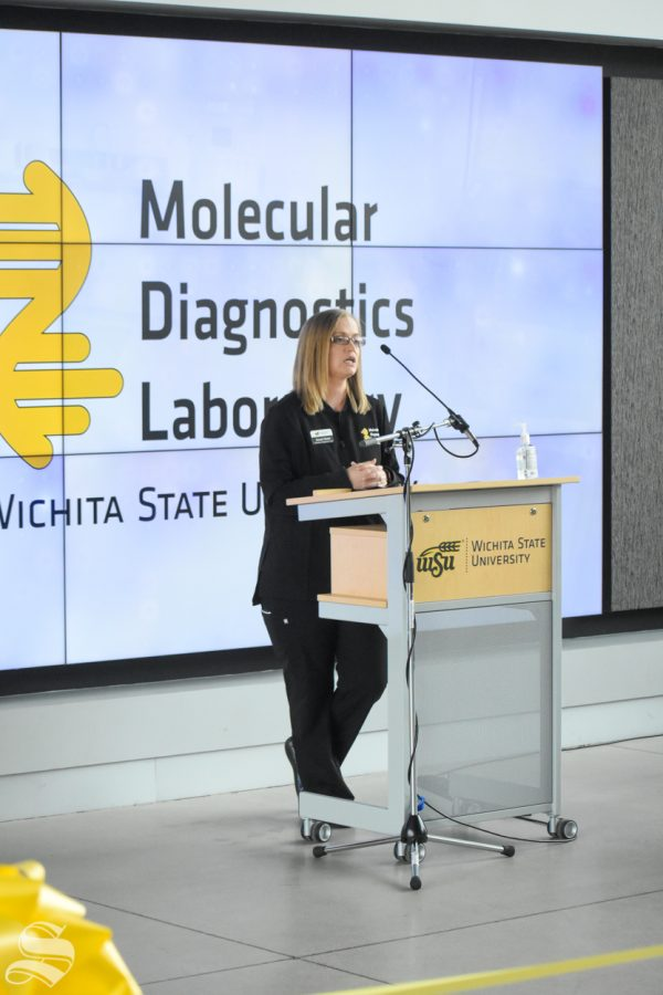 Sarah Nickel, Assistant Professor in the Medical Laboratory Sciences at Wichita State University, speaks about the new Molecular Diagnostics Lab on Monday, Oct. 19 inside the John Bardo Center.