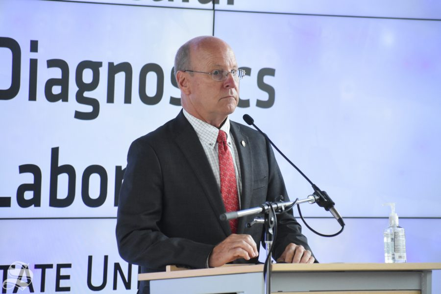 Pete Meitzner, the Board of County Commissioners chairman, speaks during the opening of the new Molecular Diagnostic Lab on Monday inside the John Bardo Center.