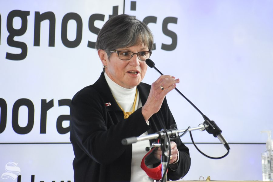 Governor of Kansas Laura Kelly introduces herself at the opening of the new Molecular Diagnostics Laboratory on Monday inside the John Bardo Center.