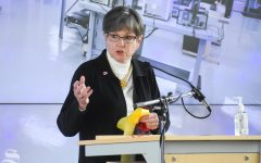 Laura Kelly, Governor of Kansas, speaks during the opening announcement of the new Molecular Diagnostics Lab at Wichita State on Monday, Oct. 19 inside the John Bardo Center.